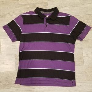 Men's Purple and Black Striped Polo - Medium